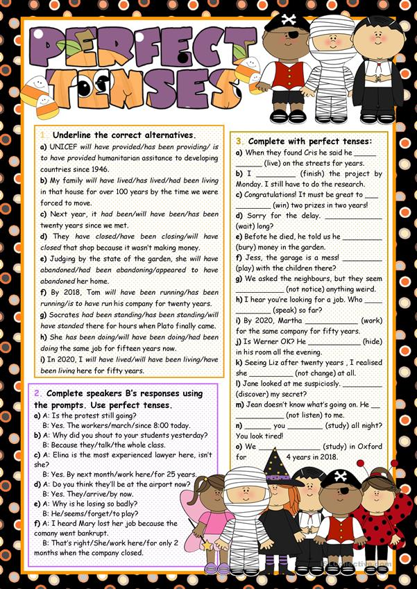 Perfect tenses (revision) and Hallowe'en