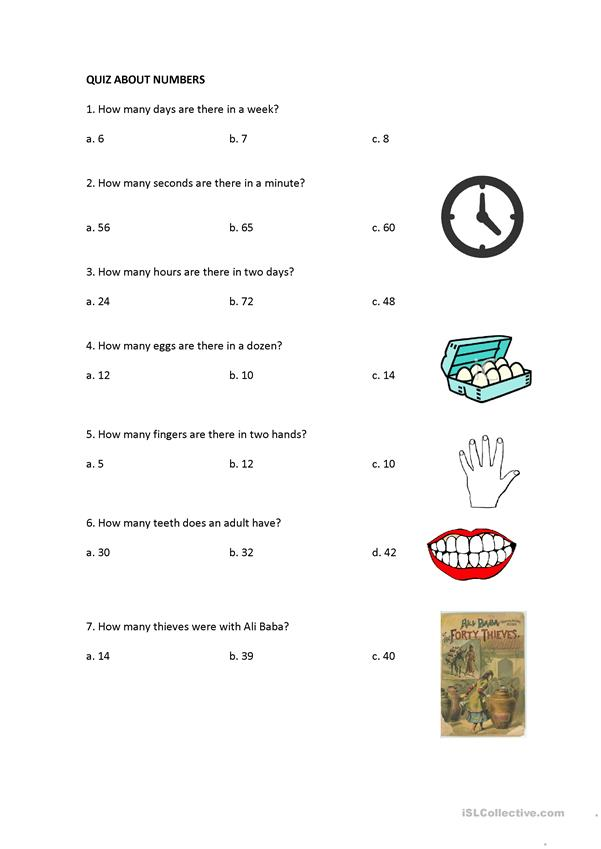 Quiz about numbers