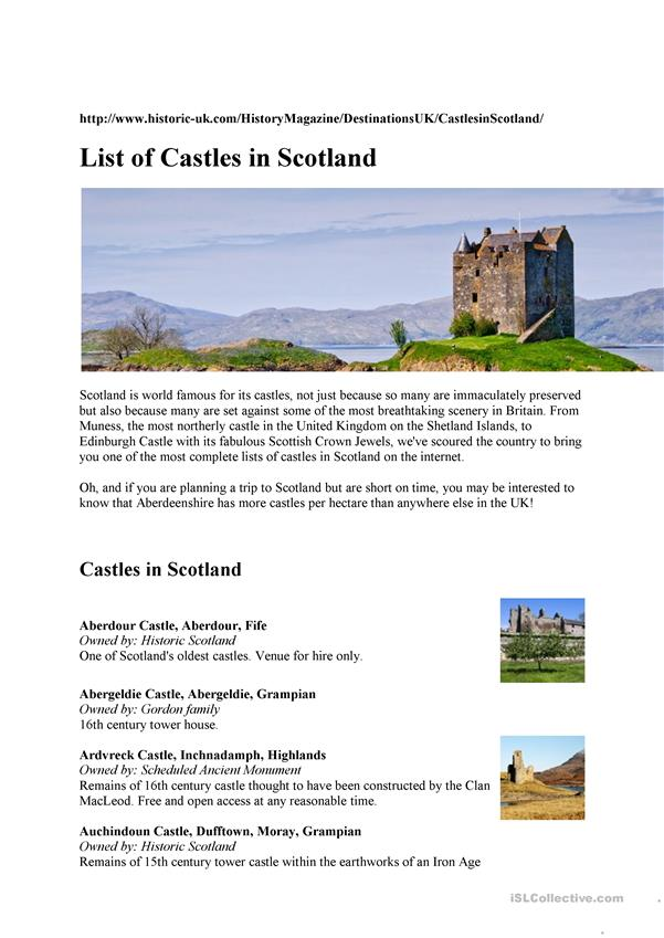 Scotland and its castles