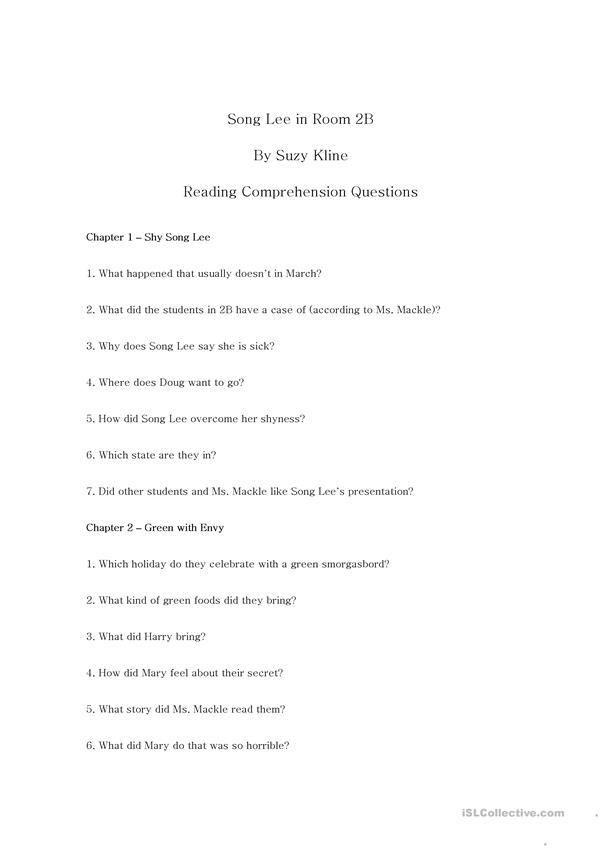 Song Lee in Room 2B Reading Comprehension Questions