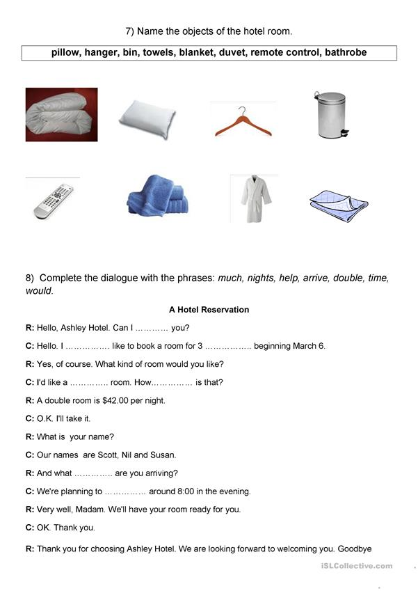 Survival English 1 - At the hotel - 1 hour sheet