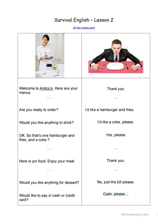Survival English 2 - At the restaurant - 1 hour sheet