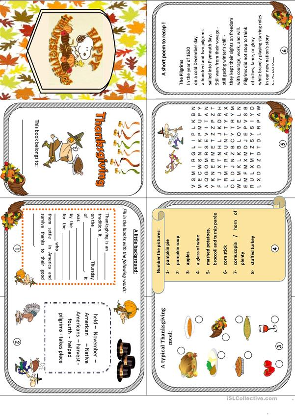 Thanksgiving minibook