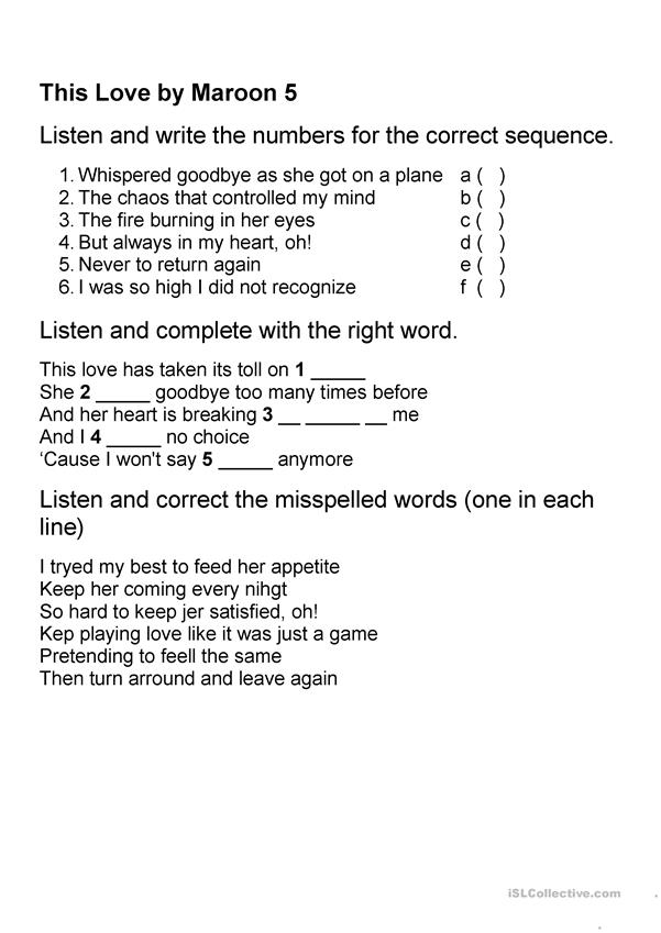 This Love by Maroon 5 Worksheet