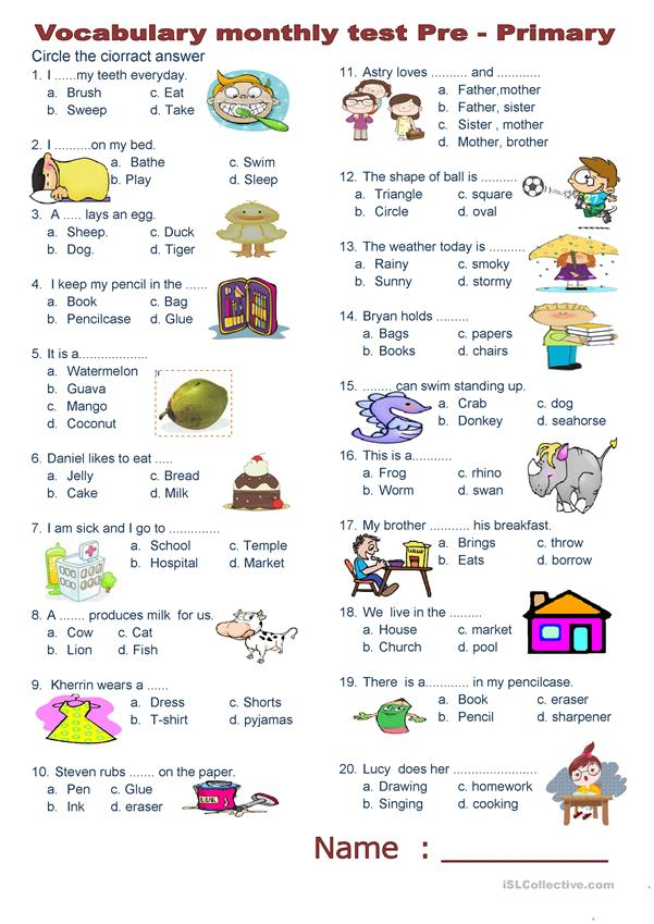 Vocabulary monthly test