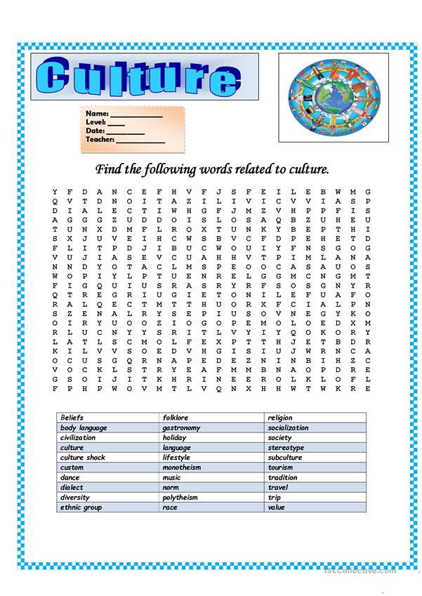 Wordsearch: Culture