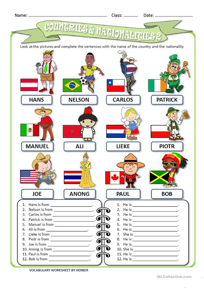 COUNTRIES AND NATIONALITIES 2 WS - ESL worksheets