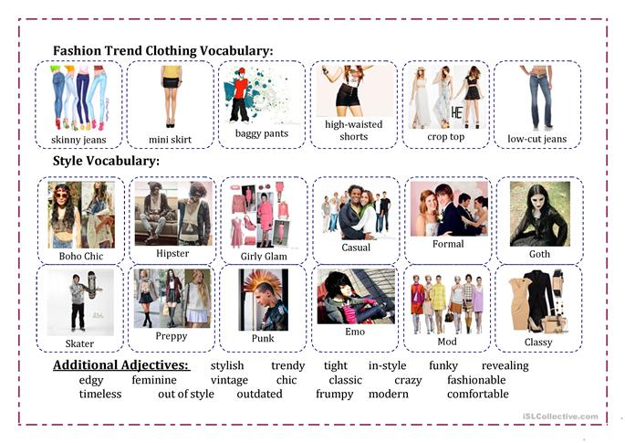 Fashion Vocabulary Worksheet Free Esl Printable