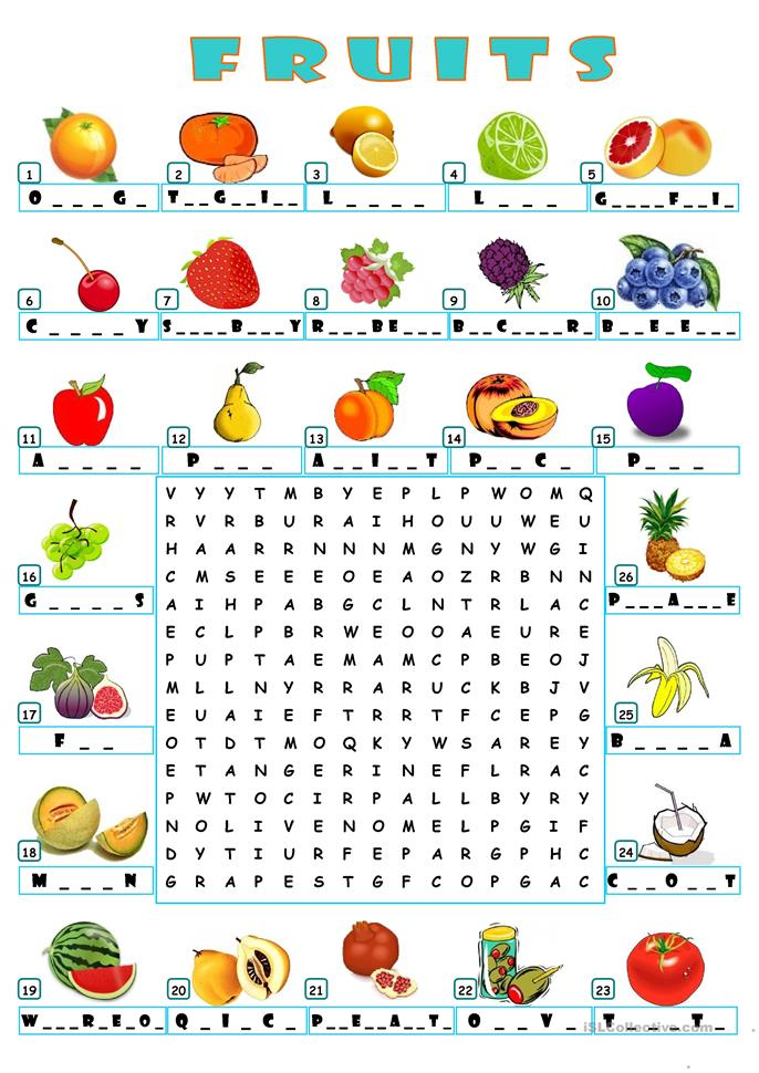 Galerry fruit word search printables