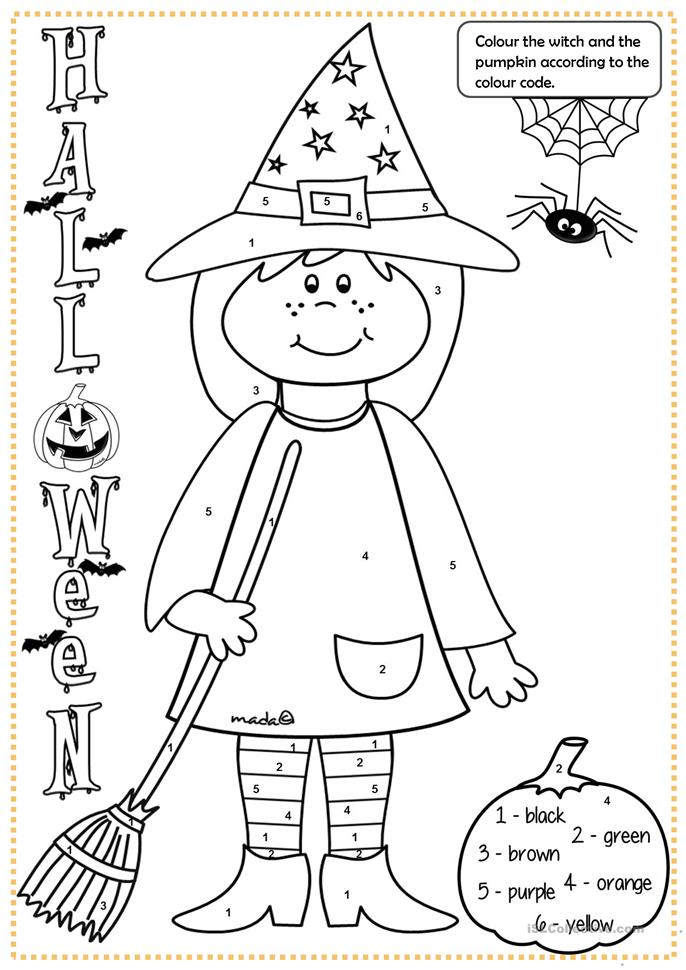 Halloween witch - colouring - ESL worksheets