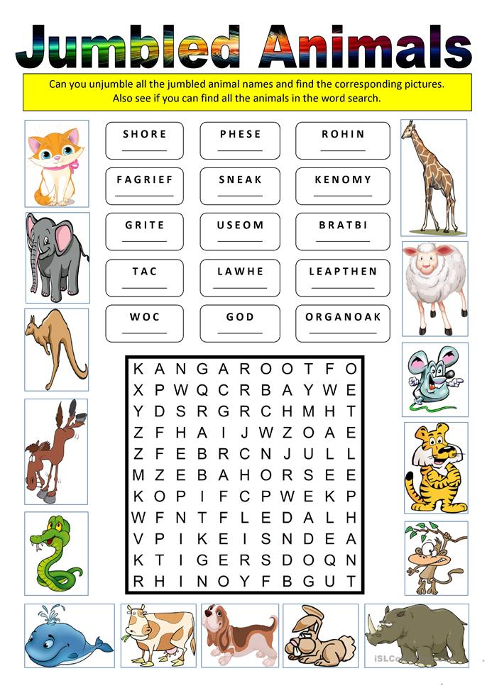 Jumbled Animals worksheet - Free ESL printable worksheets made by ...