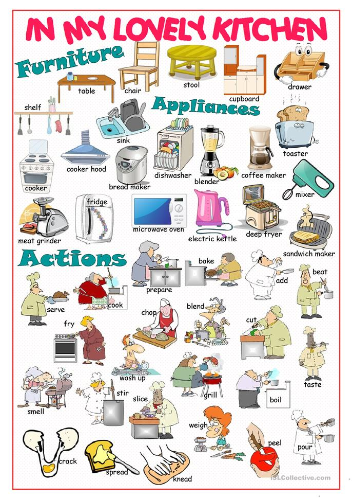 Kitchen Equipment Dictionary ~ Free esl appliance worksheets
