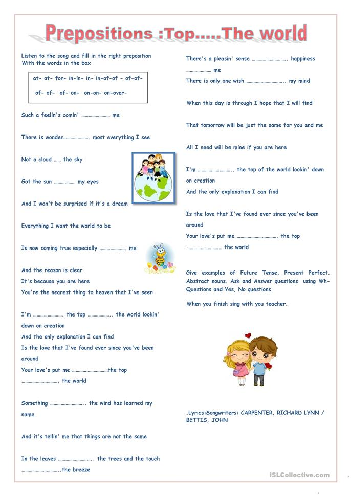 Prepositions Top...the World - ESL worksheets
