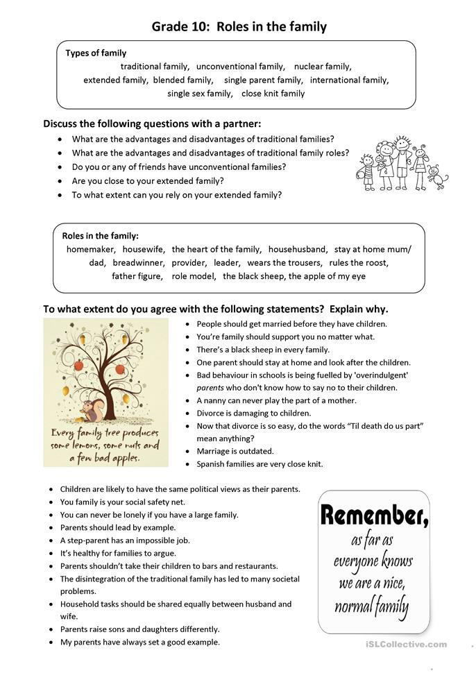 Printables Family Roles Worksheet roles in the family idioms and conversation worksheet free esl printable worksheets made by teachers