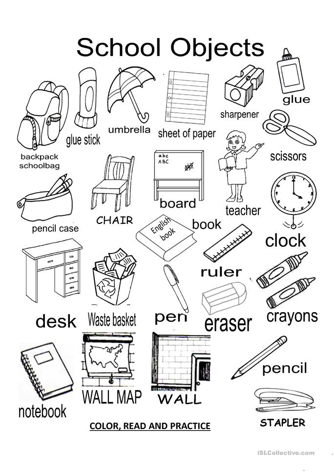 School Objects worksheet - Free ESL projectable worksheets made by ...