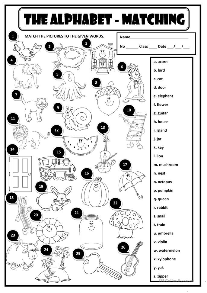 THE ALPHABET - MATCHING - ESL worksheets