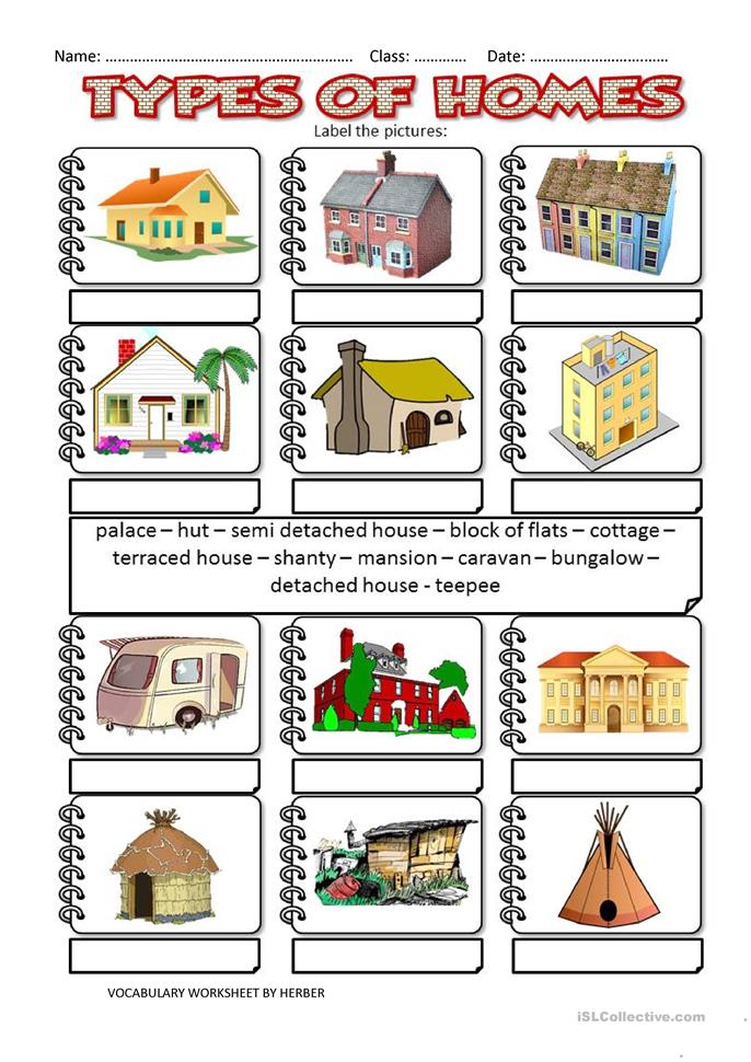 35 free esl homes worksheets for All types of houses pictures