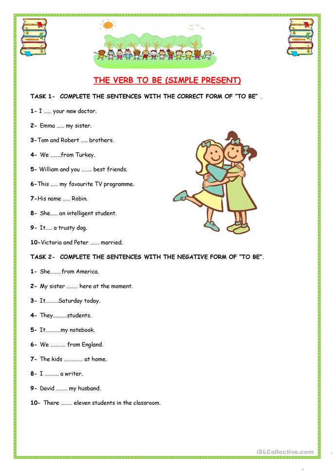"Verb ""TO BE"" - ESL worksheets"