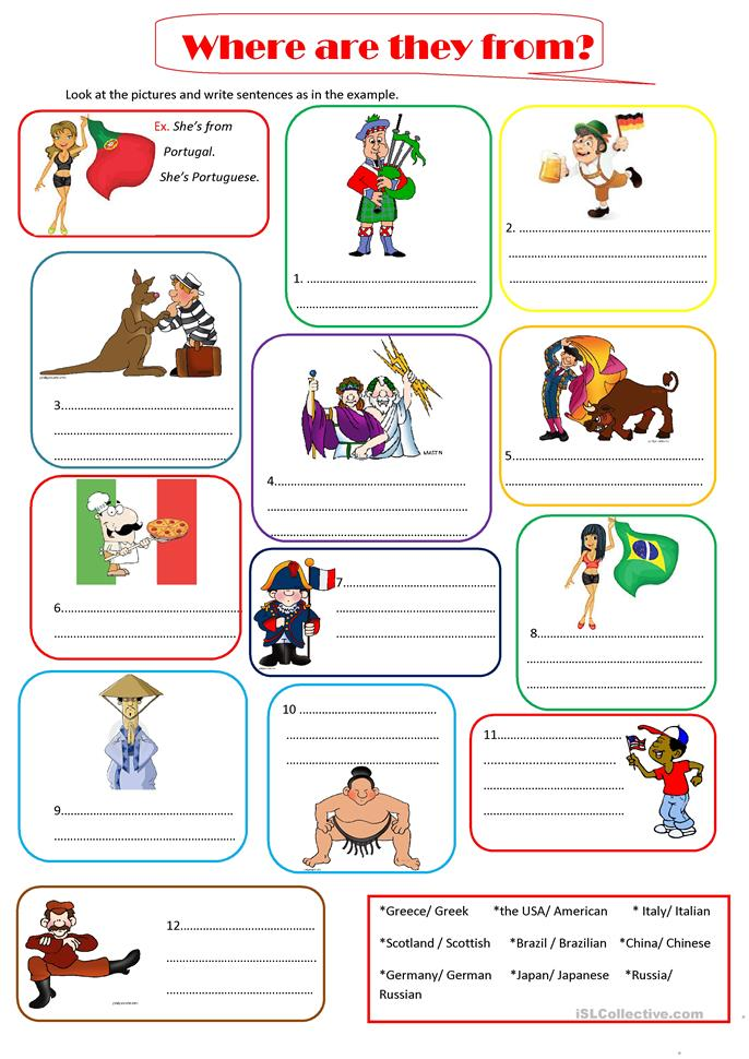 Who What Where When Worksheets : Where are they from worksheet free esl printable