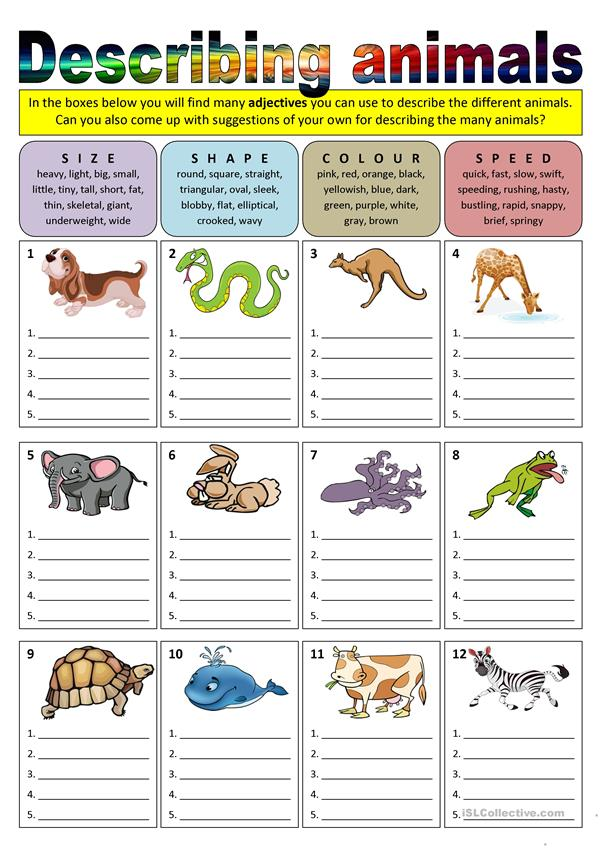 adjectives that start with w to describe a person describing animals adjectives worksheet free esl 20048
