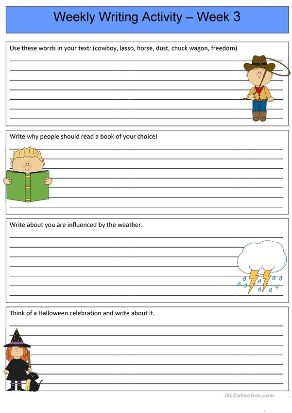 Weekly Writing Activity 3 - English ESL Worksheets for ...