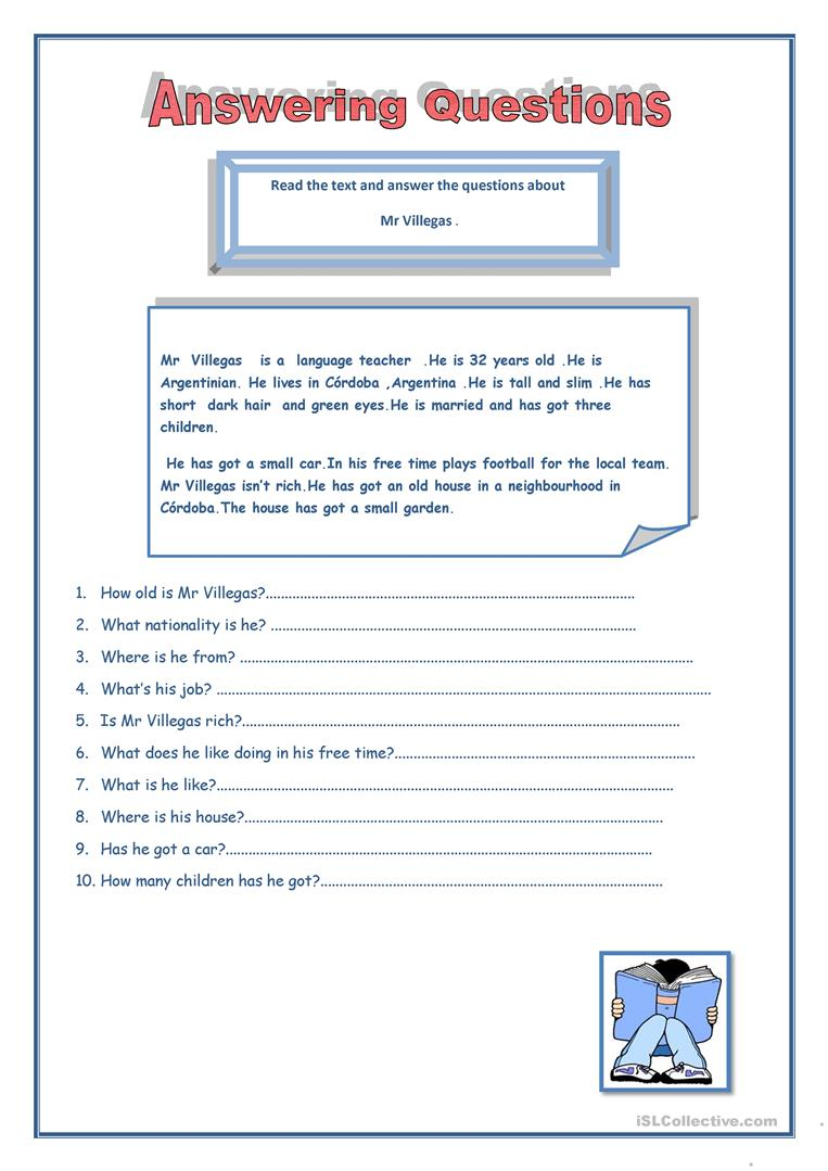- Answering Questions - English ESL Worksheets For Distance Learning