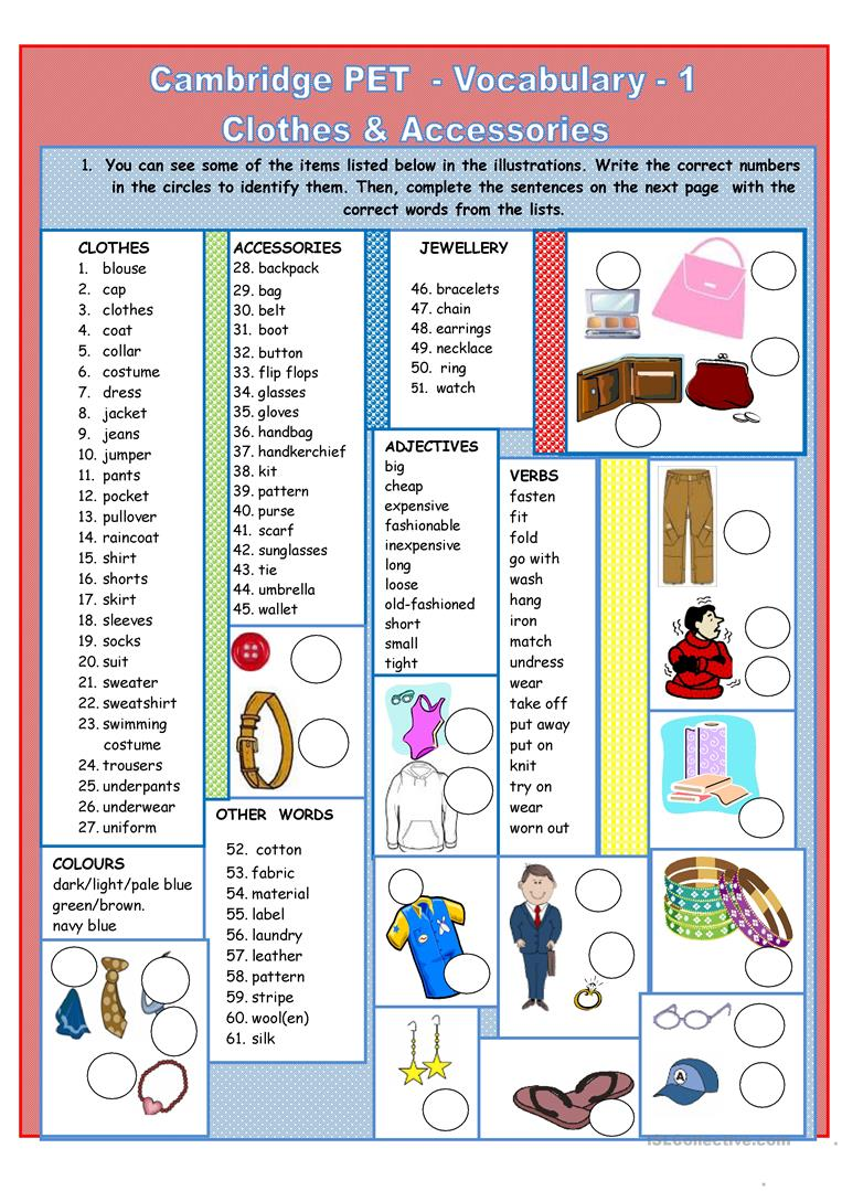 English Worksheets For Teachers : Cambridge pet vocabulary worksheet free esl