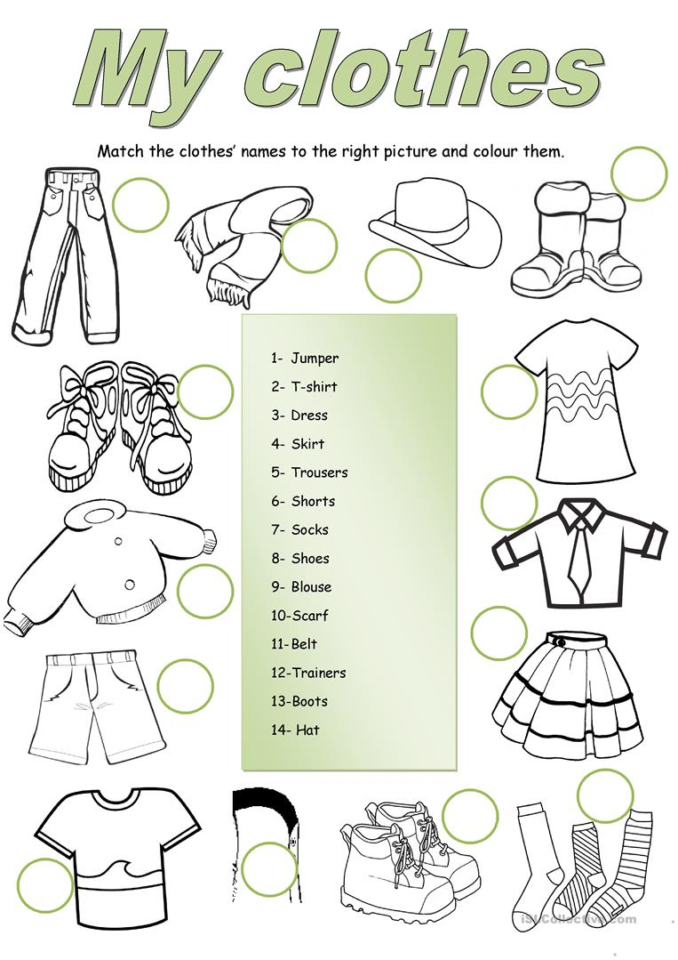 19 Free Esl Clothes Matching Worksheets