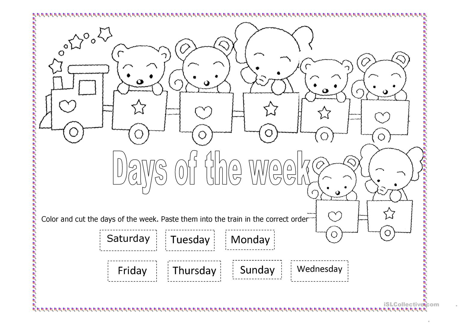 worksheet Days Of The Week Worksheet days of the week train worksheet free esl printable worksheets full screen