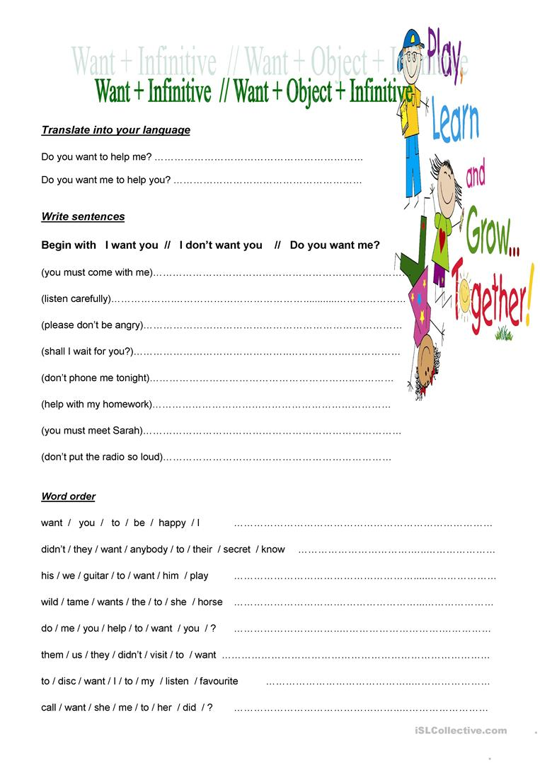 Exercises with the verb WANT worksheet - Free ESL printable ...