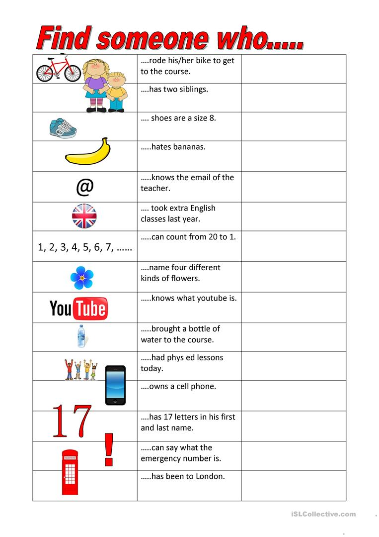 Find someone who.... worksheet - Free ESL printable worksheets made ...