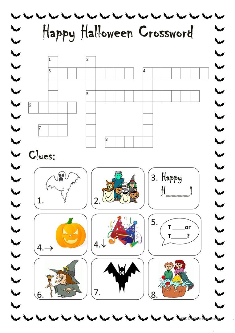 graphic regarding Halloween Crossword Puzzles Printable known as Halloween Crossword worksheet - Cost-free ESL printable