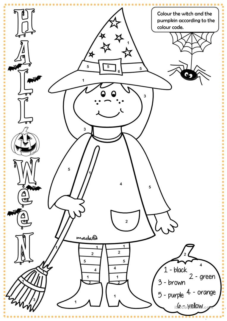 Halloween Witch   Colouring