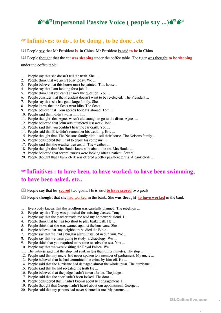active and passive voice worksheets with answers pdf