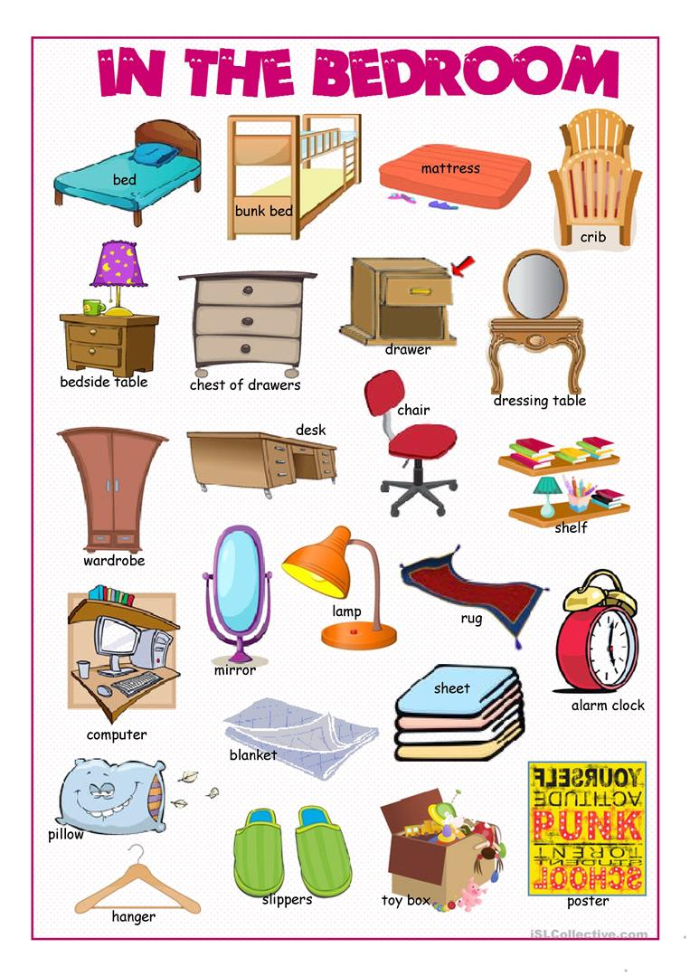 In the bedroom picture dictionary worksheet free esl for Bedroom furniture vocabulary