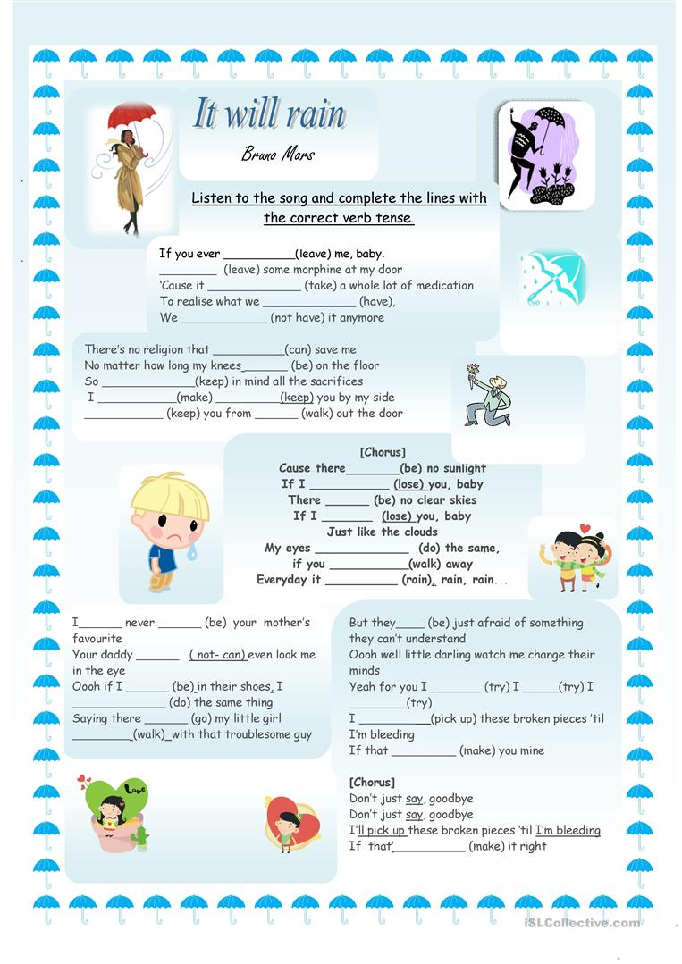 it will rain song worksheet free esl printable worksheets made by teachers. Black Bedroom Furniture Sets. Home Design Ideas