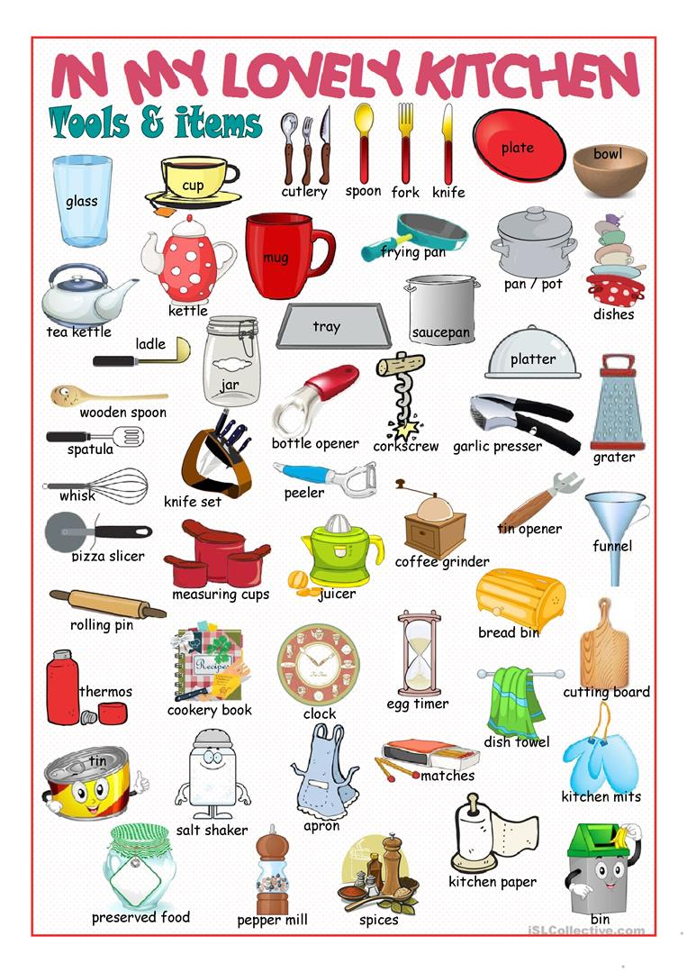 Kitchen Equipment Dictionary ~ Kitchen picture dictionary worksheet free esl