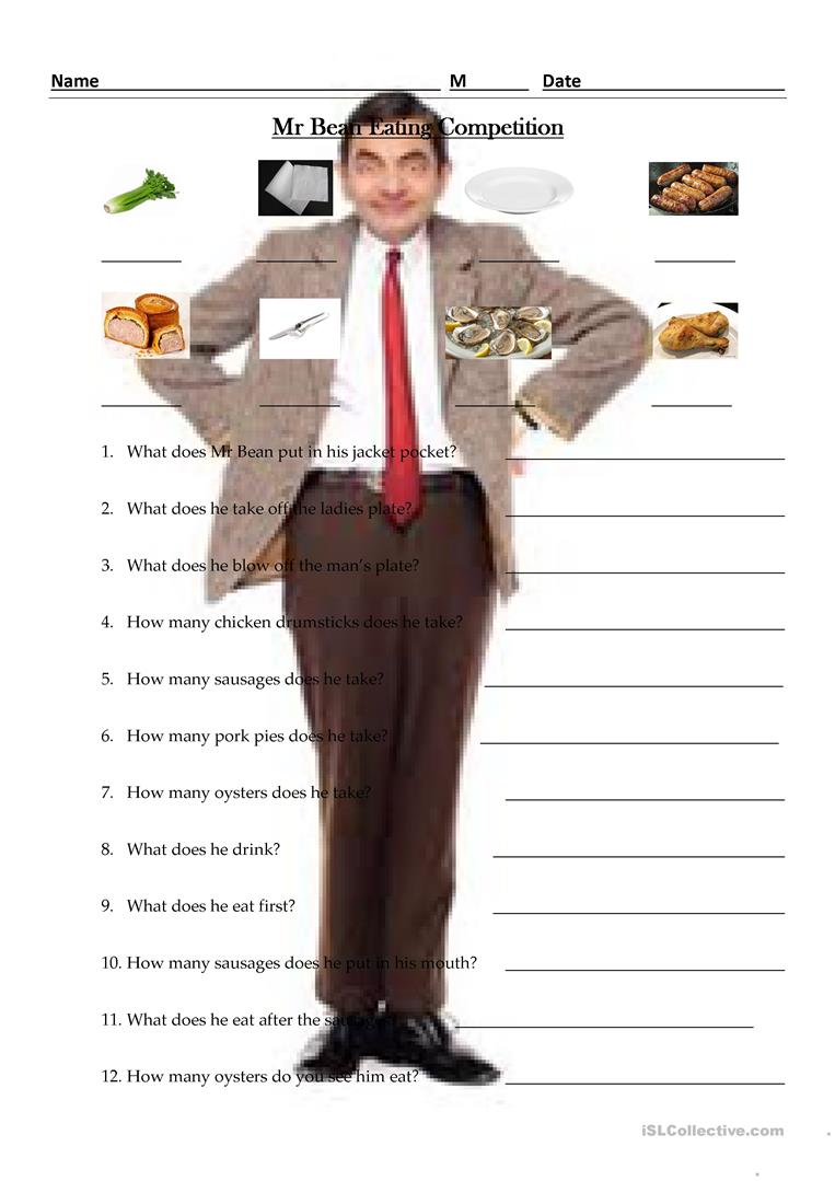 49 free esl mr bean worksheets mr bean eating competion solutioingenieria Image collections