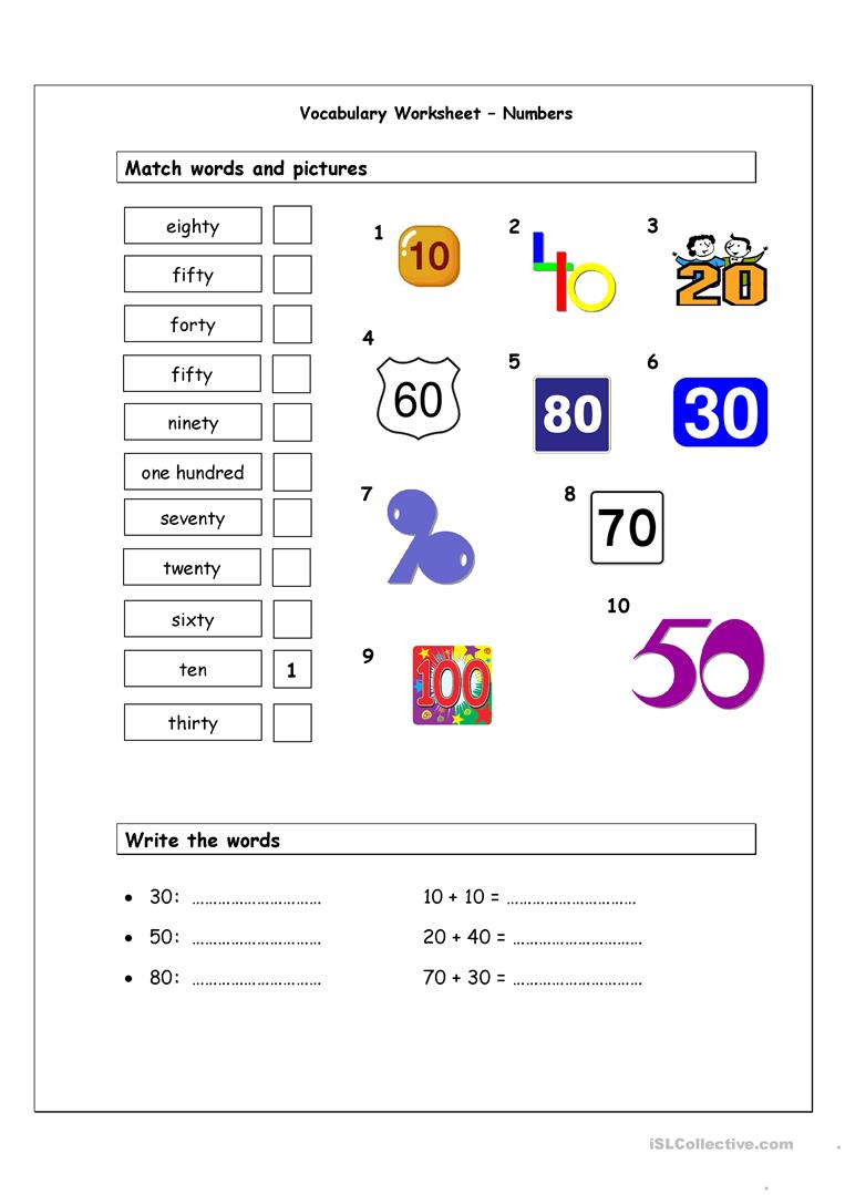 Workbooks matching numbers worksheets : Numbers 10 - 100 matching worksheet worksheet - Free ESL printable ...
