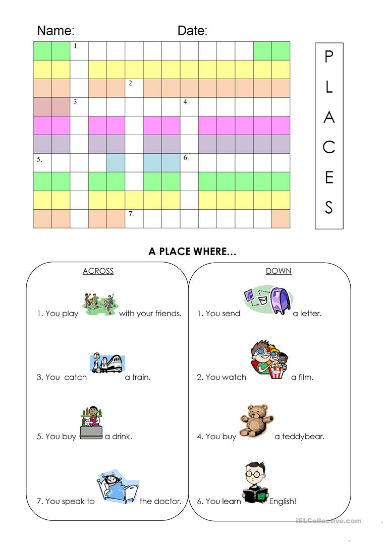 places in town worksheet worksheet free esl printable worksheets made by teachers. Black Bedroom Furniture Sets. Home Design Ideas