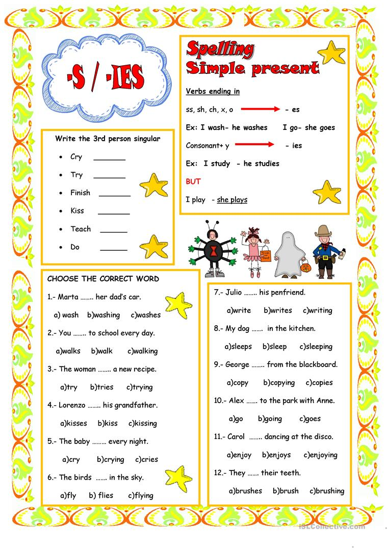 PRESENT SIMPLE 3rd PERSON SINGULAR - English ESL Worksheets