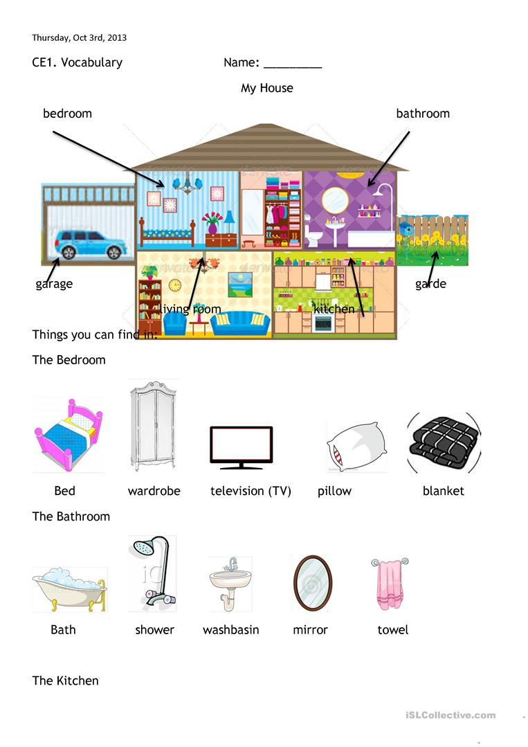 House Rooms Worksheet: Rooms Of The House And Furniture Worksheet