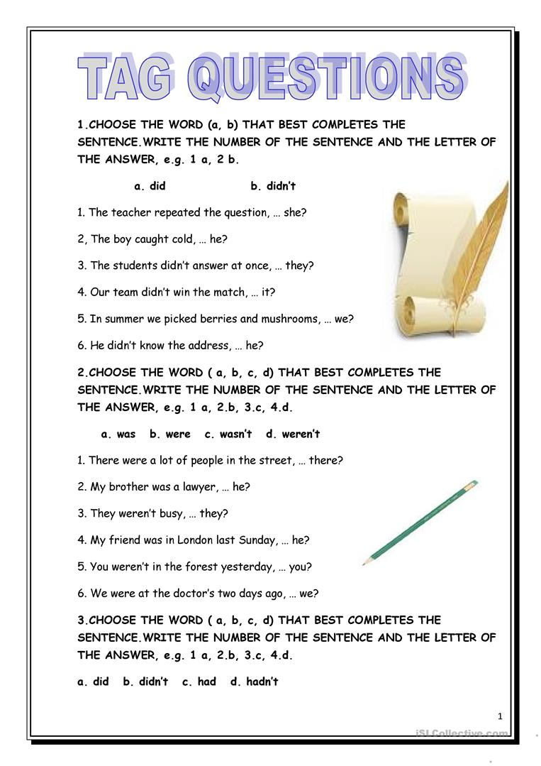 Tag Questions - English ESL Worksheets for distance ...
