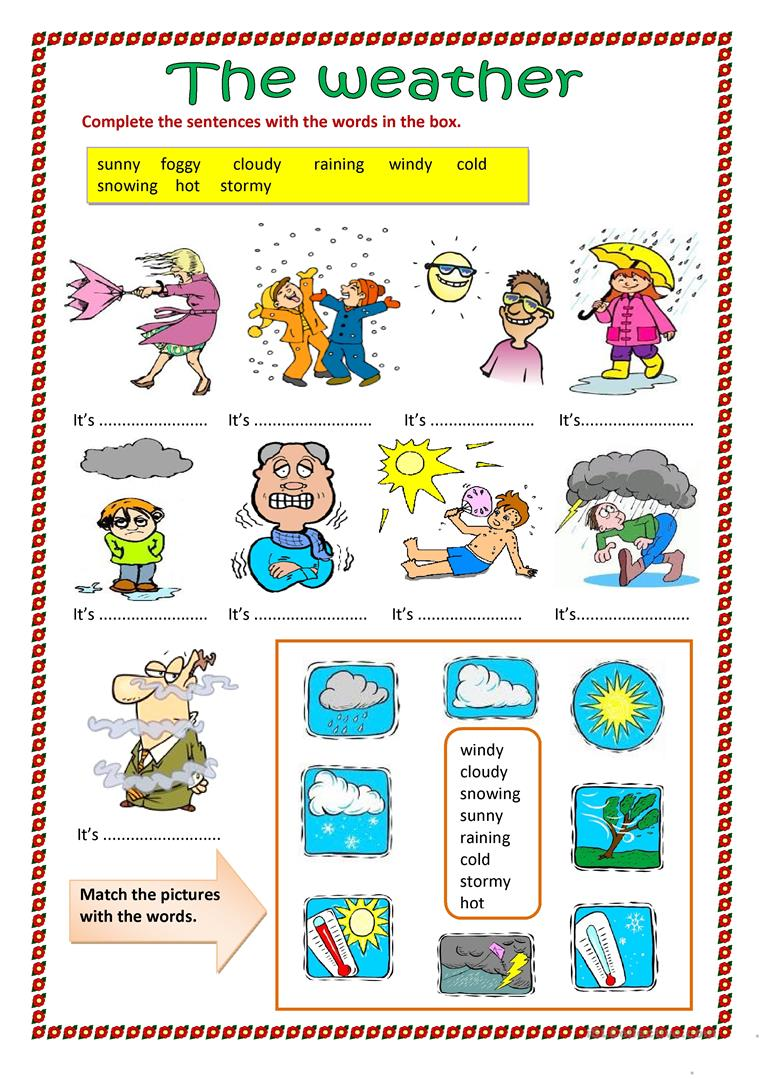 The weather. - English ESL Worksheets