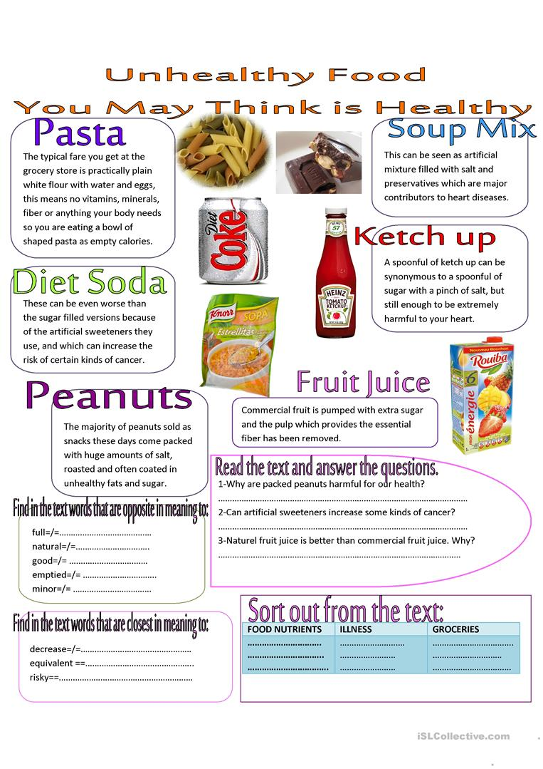worksheet Healthy Food Worksheets 44 free esl healthy food worksheets unhealthy that you may think is healthy