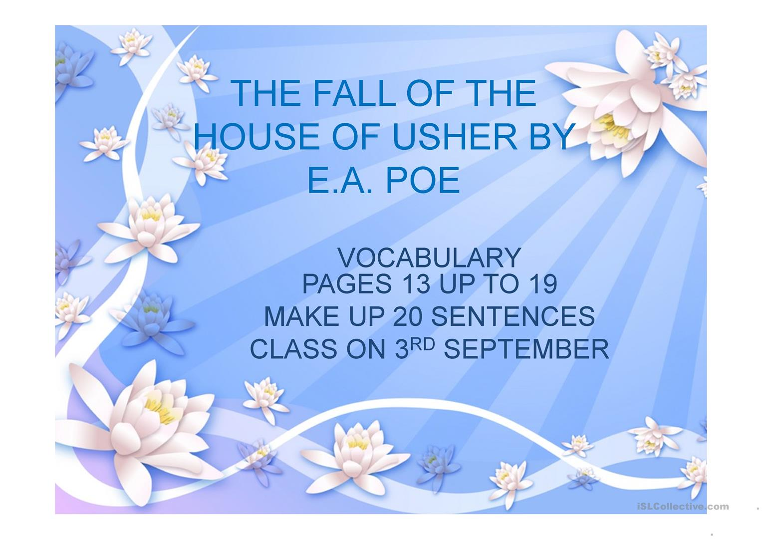 Vocabulary The Fall Of The House Of Usher To Make Up Sentences