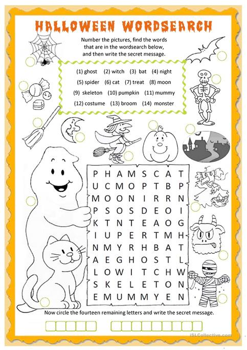 Halloween wordsearch worksheet - Free ESL printable worksheets ...
