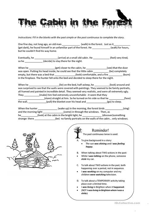 The Cabin in the Wood - past continuous worksheet - Free ESL ...