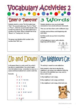 vocabulary activity Vocabulary 4-5 student center activities: vocabulary 2007 the florida center for reading research objective the student will relate new vocabulary to prior knowledge.