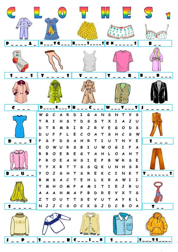 CLOTHES - WORDSEARCH 1